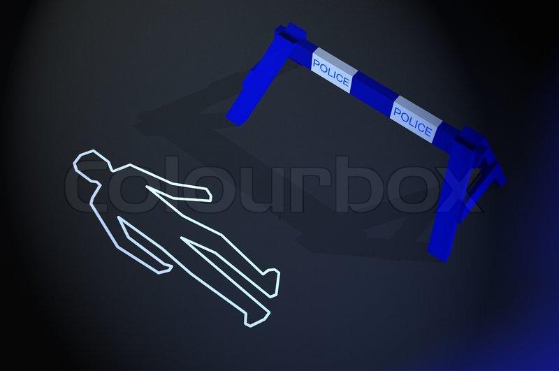Body chalk outline in a crime scene | Stock image | Colourbox