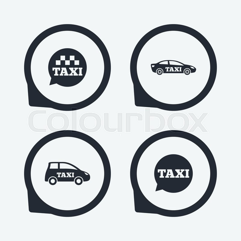 Public transport icons. Taxi speech bubble signs. Car transport symbol. Flat icon pointers, vector
