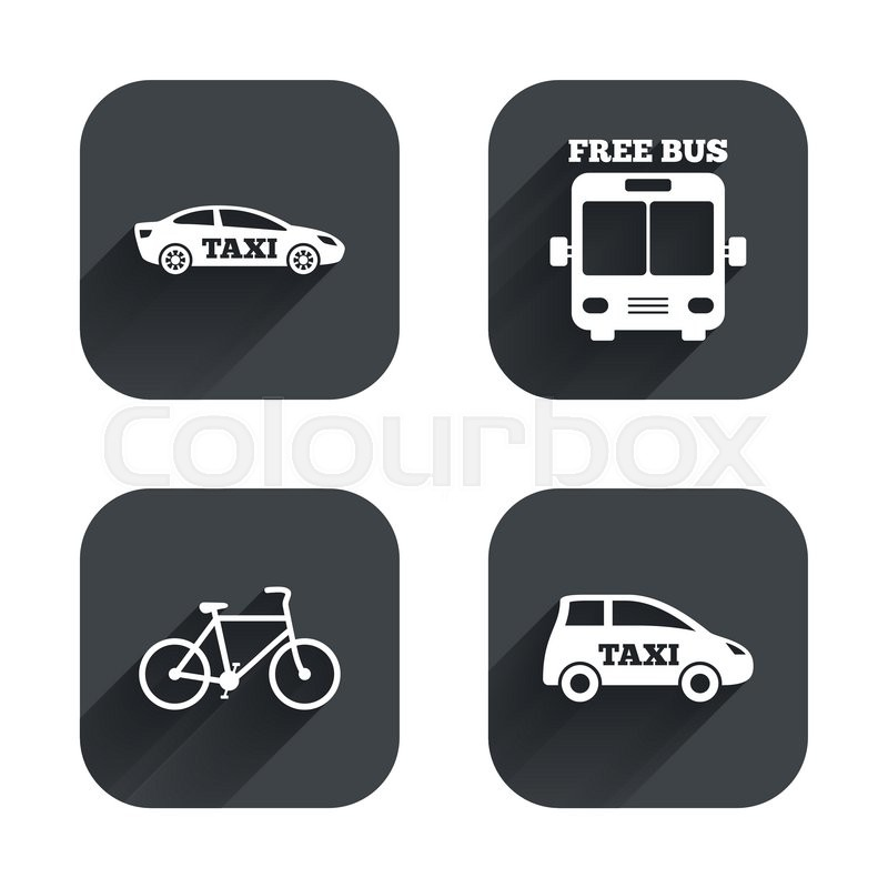 Public transport icons. Free bus, bicycle and taxi signs. Car transport symbol. Square flat buttons with long shadow, vector