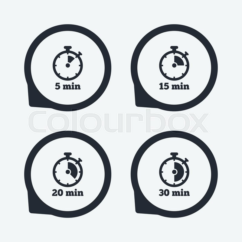 timer icons 5 15 20 and 30 minutes stopwatch symbols icons in