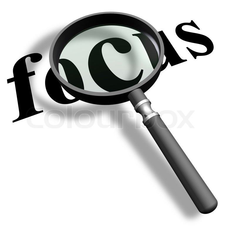 Magnifying glass with word focus | Stock Photo | Colourbox