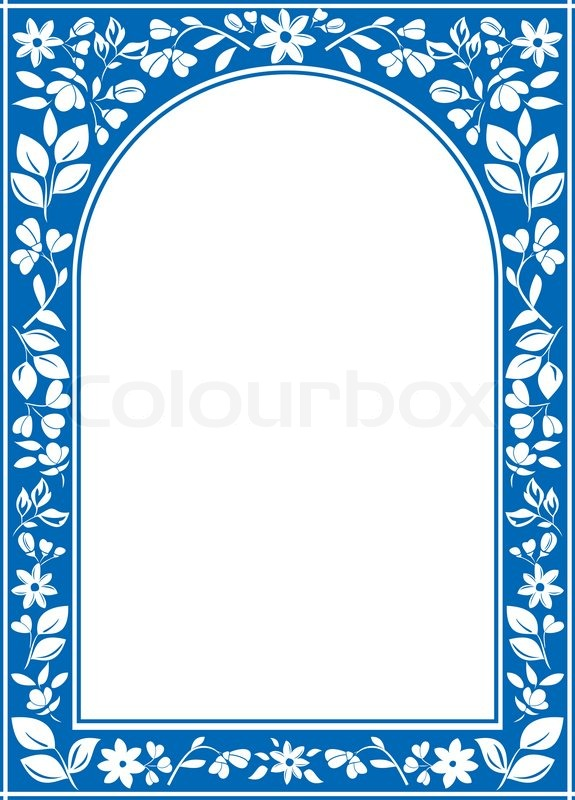 Blue floral arch frame with white center stock photo colourbox thecheapjerseys Images