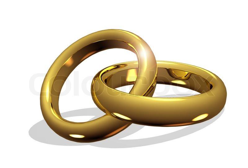 Goldene Hochzeit Ringe miteinander verbunden | Stockfoto