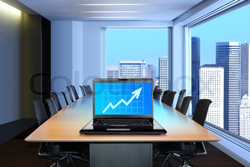 Meeting Room In Front Focus Placed On Graph Shiwing