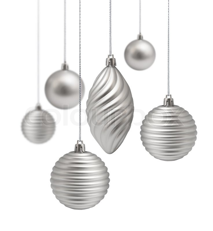 silver christmas decoration set hanging on white background isolated stock photo colourbox - Silver Christmas Decorations