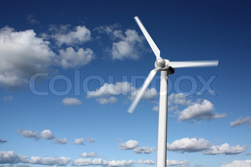 Stock image of 'Wind power plant with sky background'