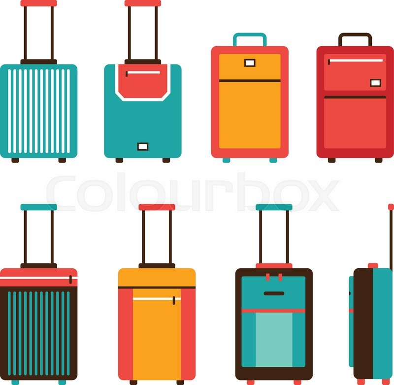 Colorful travel bag icon set Carry on luggage collection Vector ...