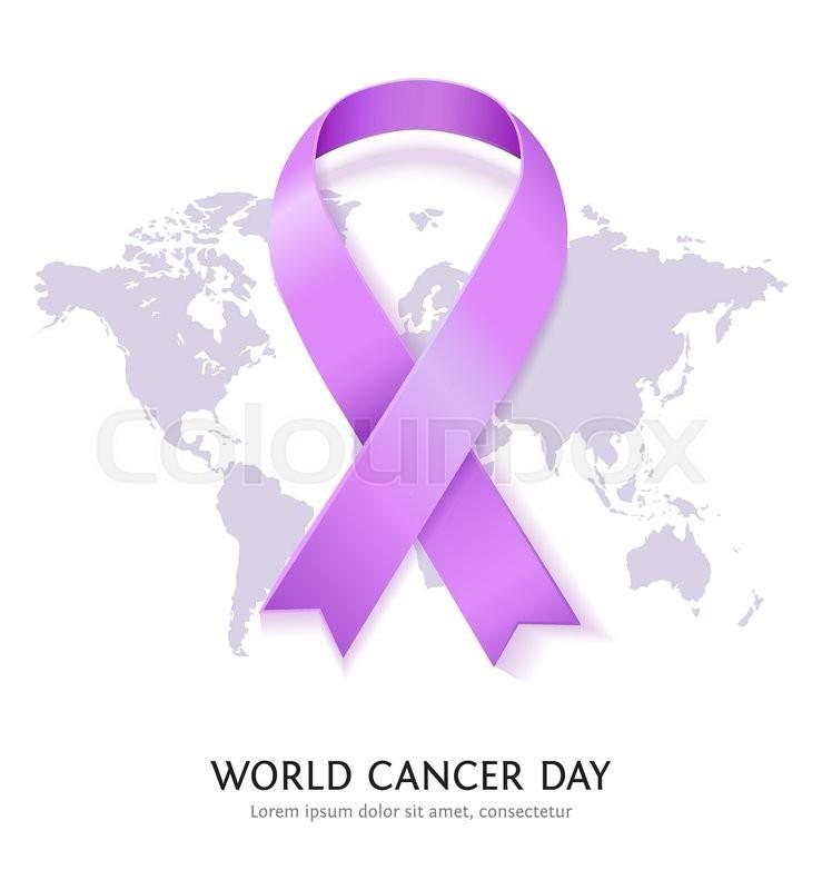 Lavender Vector Satin Ribbon For World Cancer Day General Cancer
