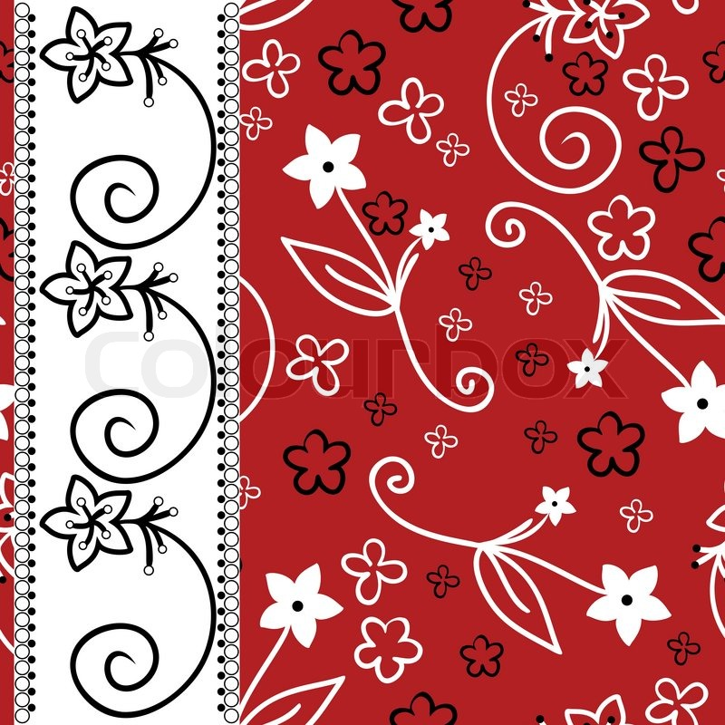 Red Background With White And Black Flowers A Vertical