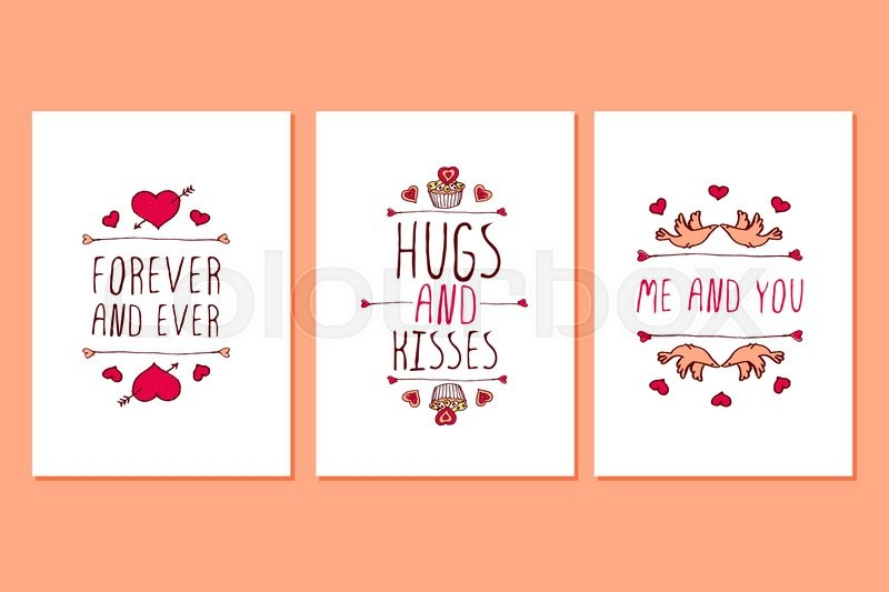 Set of Saint Valentines day hand drawn greeting cards Poster – Saint Valentine Card