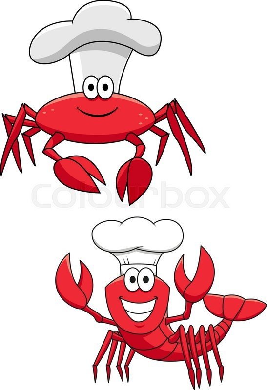 cartoon funny crustacean chefs characters with red crab Cartoon Shrimp Cooked Shrimp Clip Art