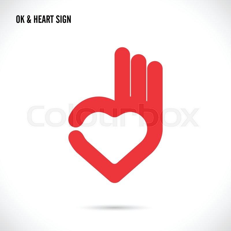 creative hand and heart shape abstract logo design hand ok symbol