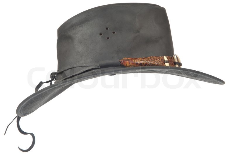 black cowboy hat profile of a white background stock