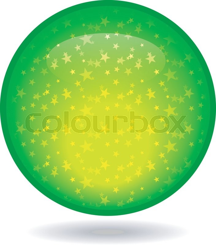 The Glossy Green Circle With A Star Inside Stock Vector Colourbox