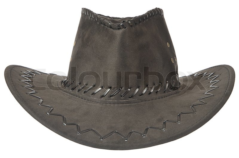 Black cowboy hat in front on white ...  d37874bfbc1