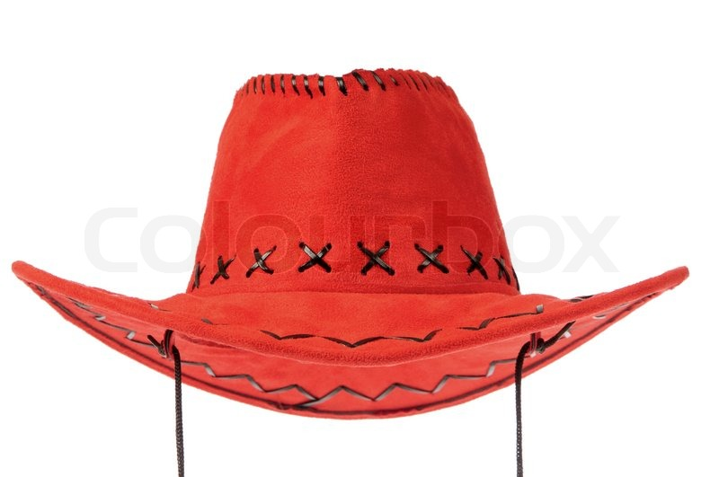 red cowboy hat in front on white background stock photo