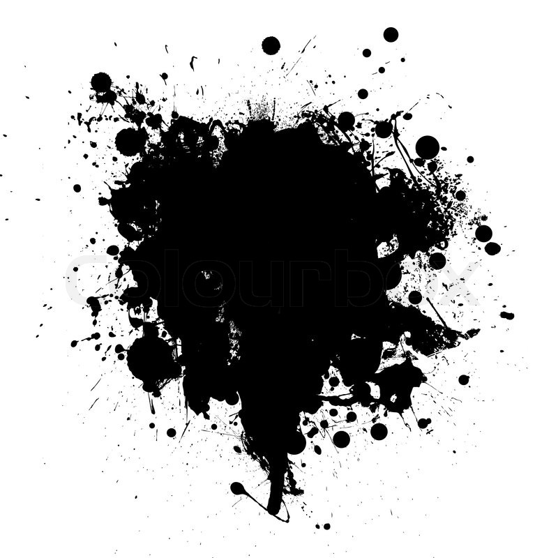 Abstract black ink grunge splat with room for your text stock vector colourbox