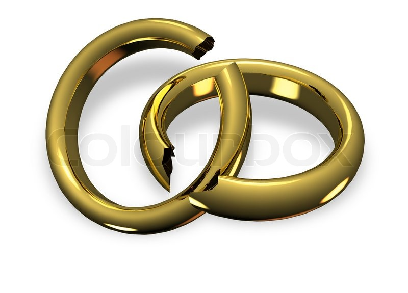 Broken wedding rings in divorce | Stock Photo
