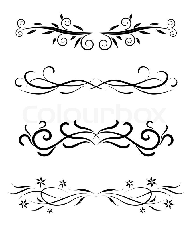 floral borders set stock vector colourbox