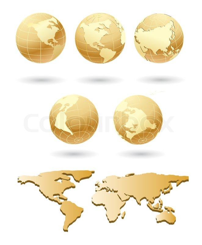 Vector golden globe with world map stock vector colourbox gumiabroncs Gallery