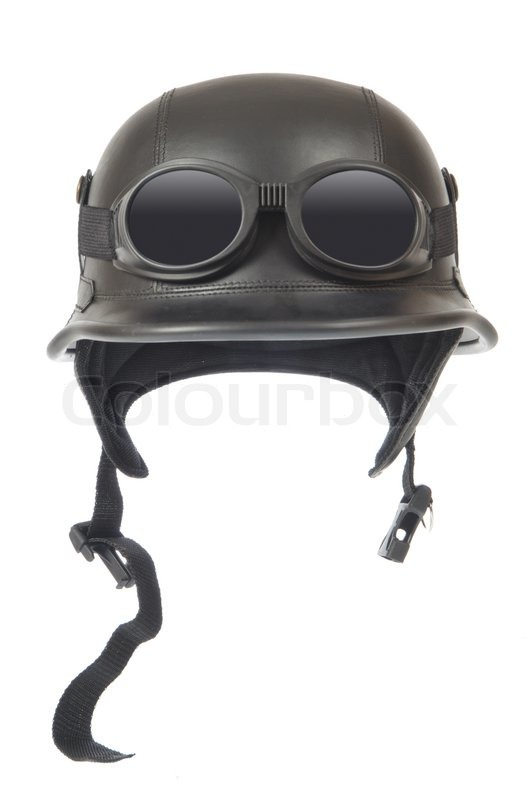 Old Fashioned Motorcycle Helmet With Goggles Isolated On