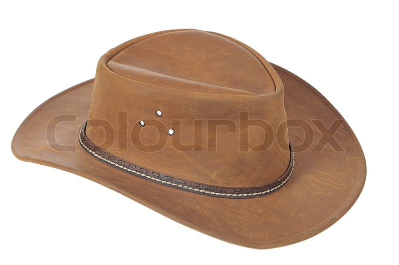 a brown cowboy hat on white background stock photo