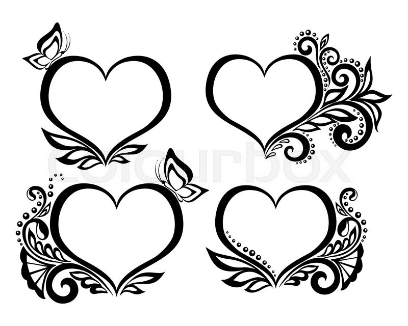 Set of beautiful black-and-white symbol of a heart with ...