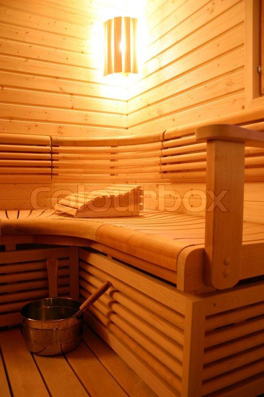moderne sauna innenraum stockfoto colourbox. Black Bedroom Furniture Sets. Home Design Ideas