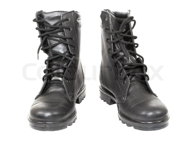 Black leather high top boots with untied laces. | Stock Photo ...