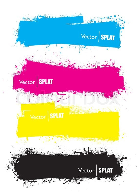 Splat banner cmyk ink grunge effect with space for text - Text banner design ...