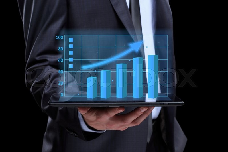Usinessmen Hand Touch Screen Graph On Stock Image