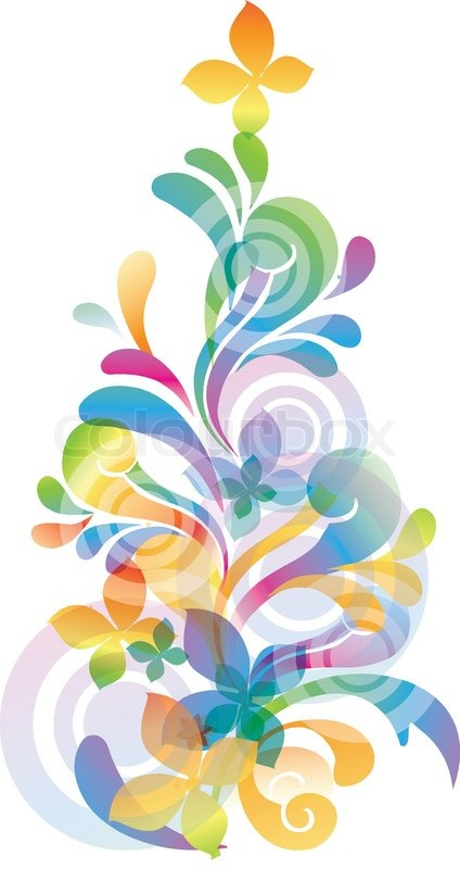 Vector rainbow colored background with flowers for design ...