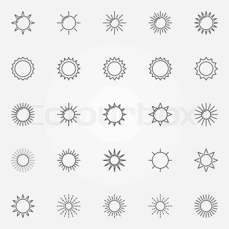 Sun Icons Set Vector Thin Line Sunshine And Sun Burst Symbols Or