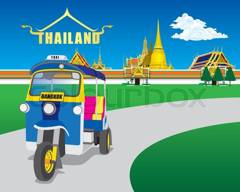 thai vehicle tuk tuk  bangkok  thailand vector stock vector colourbox