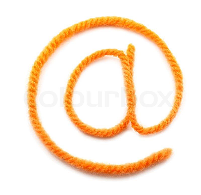 Das Symbol E- Mail von einem orange Wolle | Stockfoto | Colourbox
