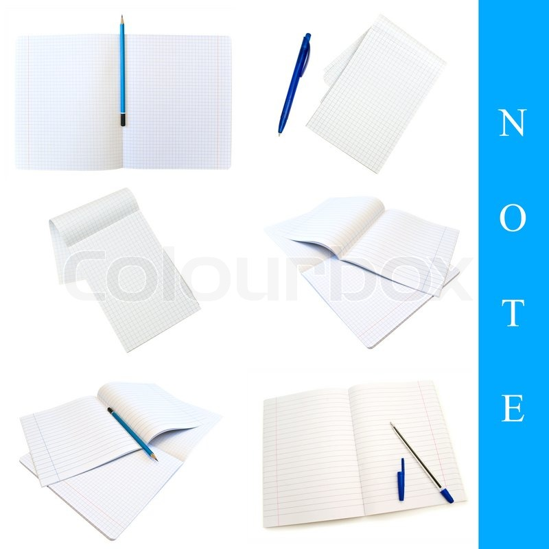 Set of different notes images over white background, stock photo