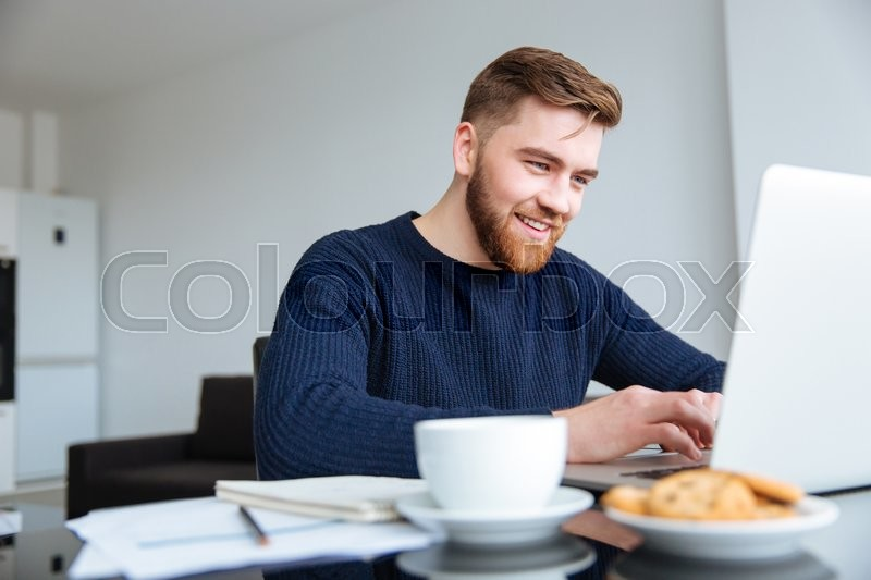 Stock image of 'Portrait of a smiling man using laptop computer at home'