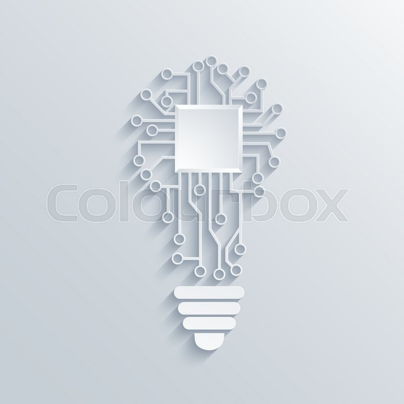 Stock image of 'Modern concept light bulb with circuit board'