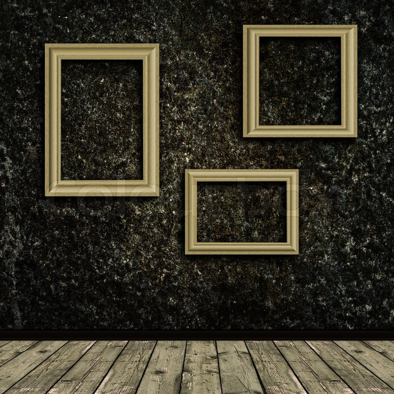 Old Photo Frames Over The Grunge Wall Background Stock
