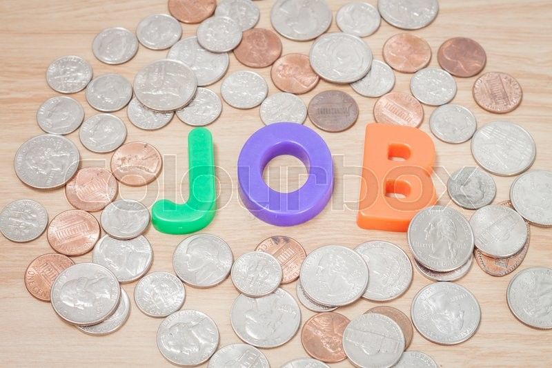 Stock image of 'Job alphabet with various US coins, stock photo'