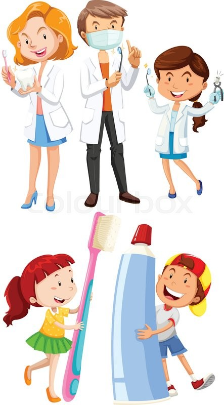 Dentists and children with toothbrush illustration | Stock ...