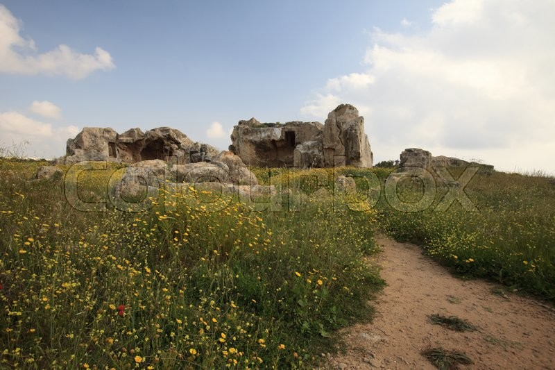Stock image of 'Tombs of the Kings on a flowering field in Paphos. Cyprus'