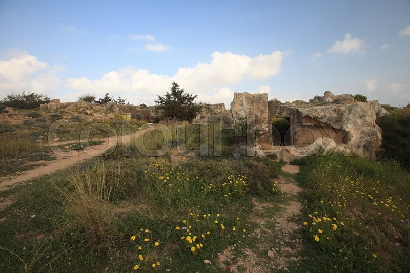 Stock image of 'narrow path to the ruins of the tombs of the kings of pathos. Cyprus\'