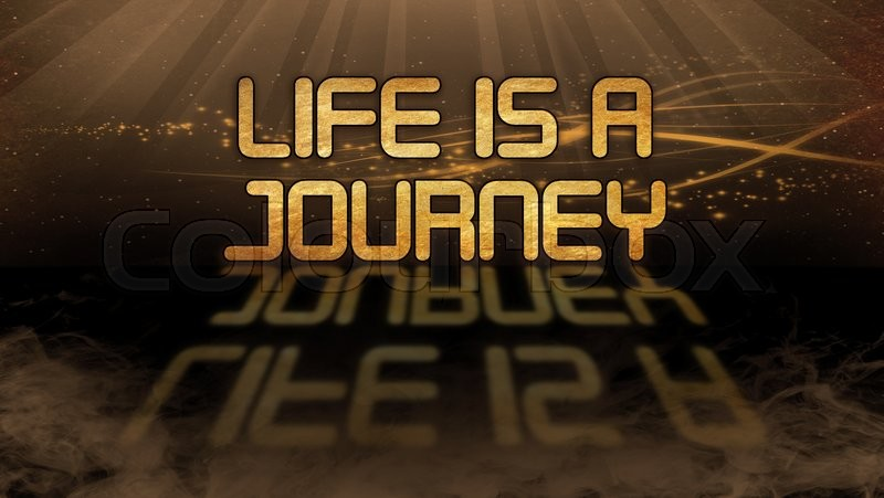 Stock image of 'Gold quote with mystic background - Life is a journey'