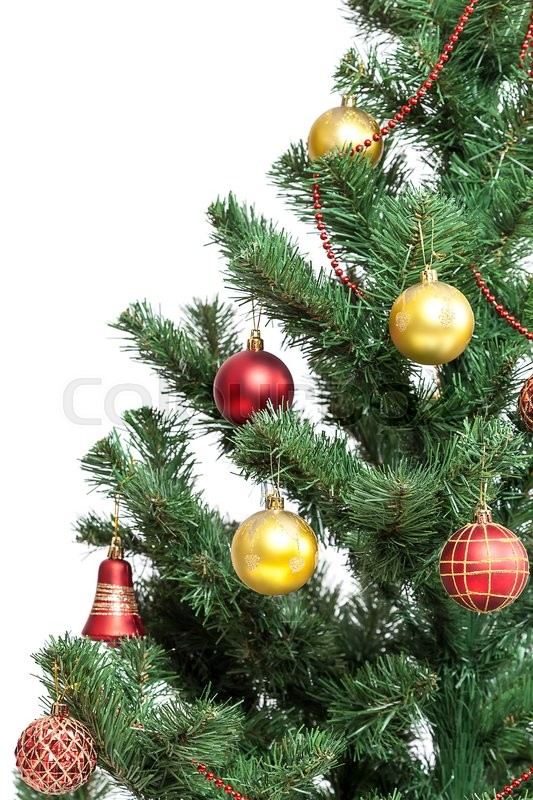 Stock image of 'Christmas tree with baubles isolated on white background.'