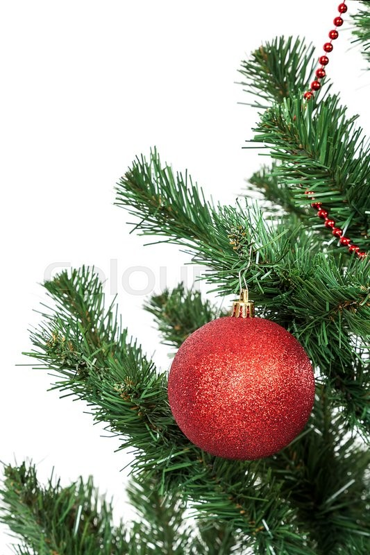 Stock image of 'Christmas tree decorated red balls.'