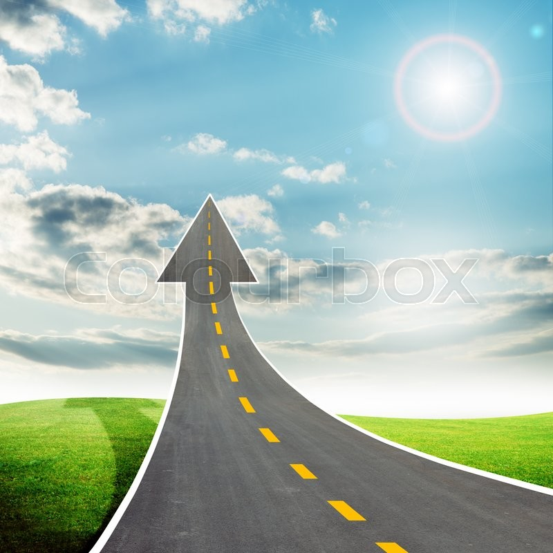 Stock image of 'Highway road going up llike arrow in sky with sun'