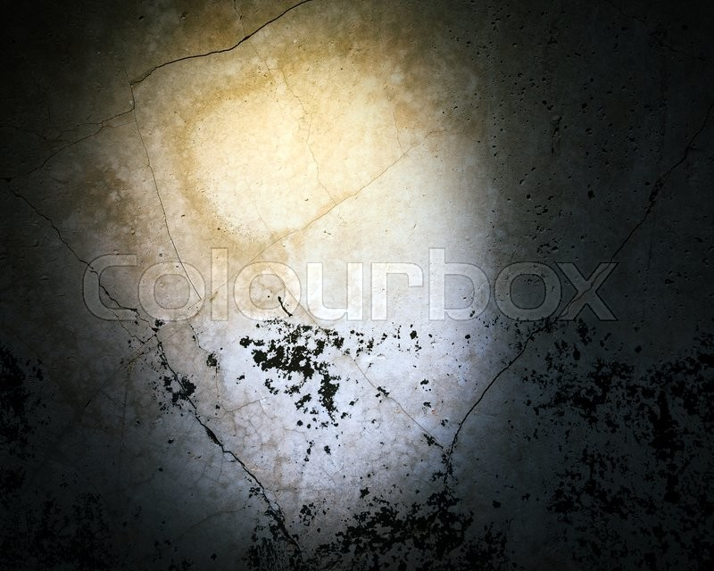 Stock image of 'Grey wall background with yellow light and dirty'