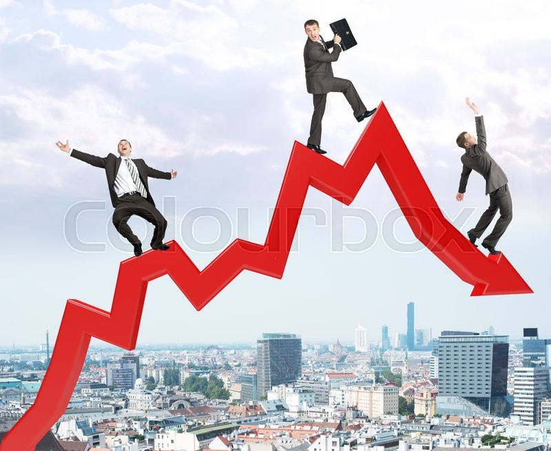 Stock image of 'Set of businessmen trying not to fall from arrow on city view background'