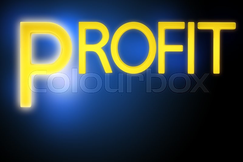 Stock image of 'Gold word profit on blue background, close up view'